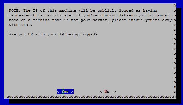 Let's Encrypt logging ok